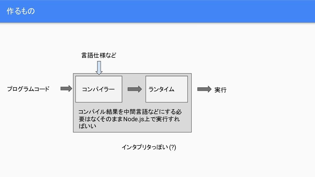 作るもの コンパイラー プログラムコード 言語仕様など ランタイム 実行 コンパイル結果を中間...