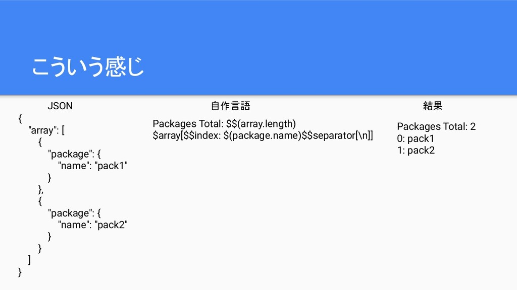 """こういう感じ { """"array"""": [ { """"package"""": { """"name"""": """"pac..."""