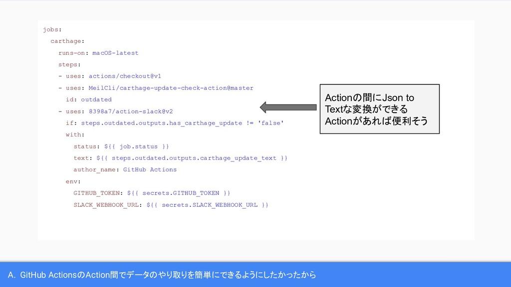 A. GitHub ActionsのAction間でデータのやり取りを簡単にできるようにしたか...