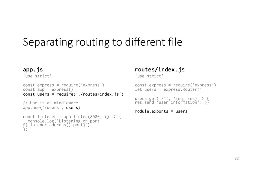 Separating routing to different file app.js 'us...