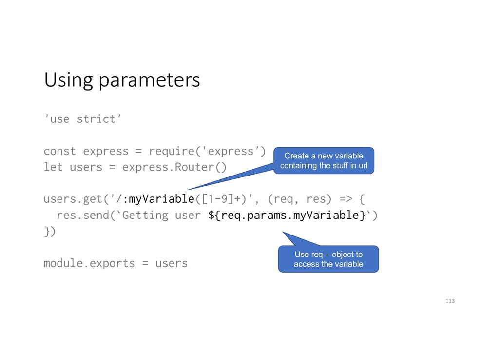Using parameters 'use strict' const express = r...