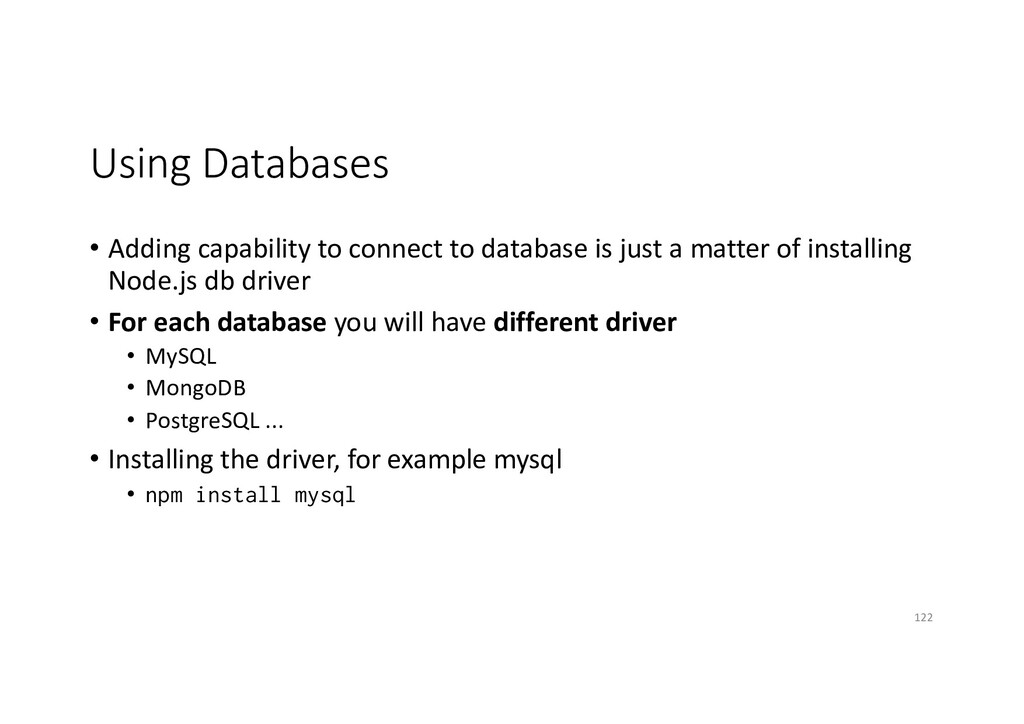 Using Databases • Adding capability to connect ...