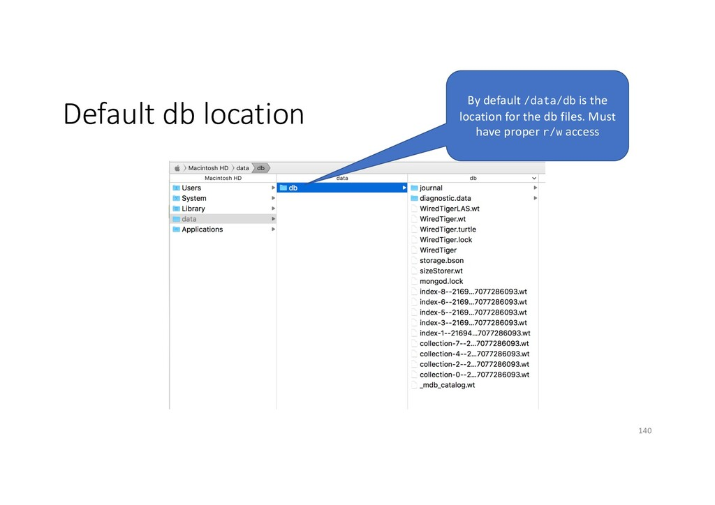 Default db location By default /data/db is the ...