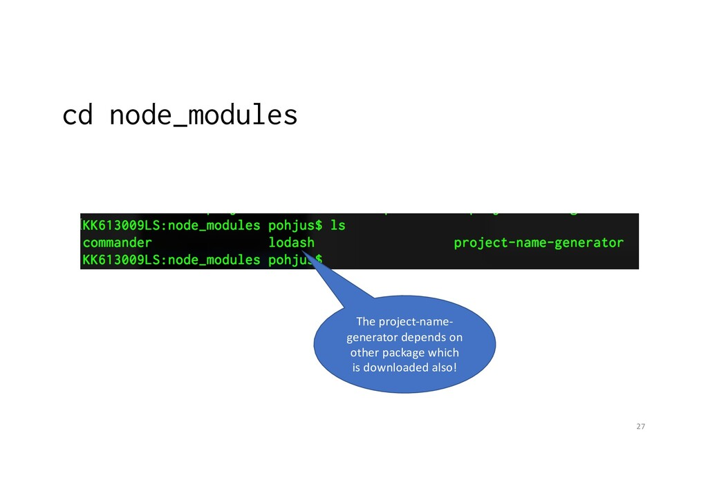cd node_modules 27 The project-name- generator ...