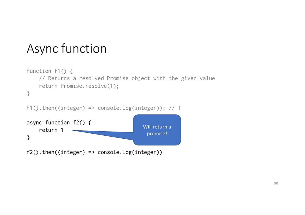 Async function function f1() { // Returns a res...