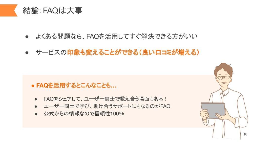結論:FAQは大事 10 ● よくある問題なら、FAQを活用してすぐ解決できる方がいい ● サ...