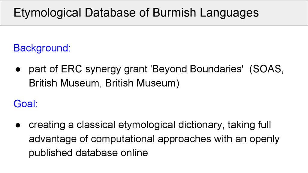 Etymological Database of Burmish Languages Back...