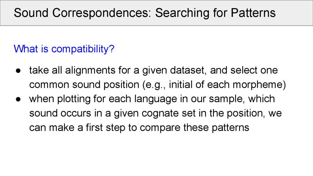 Sound Correspondences: Searching for Patterns W...