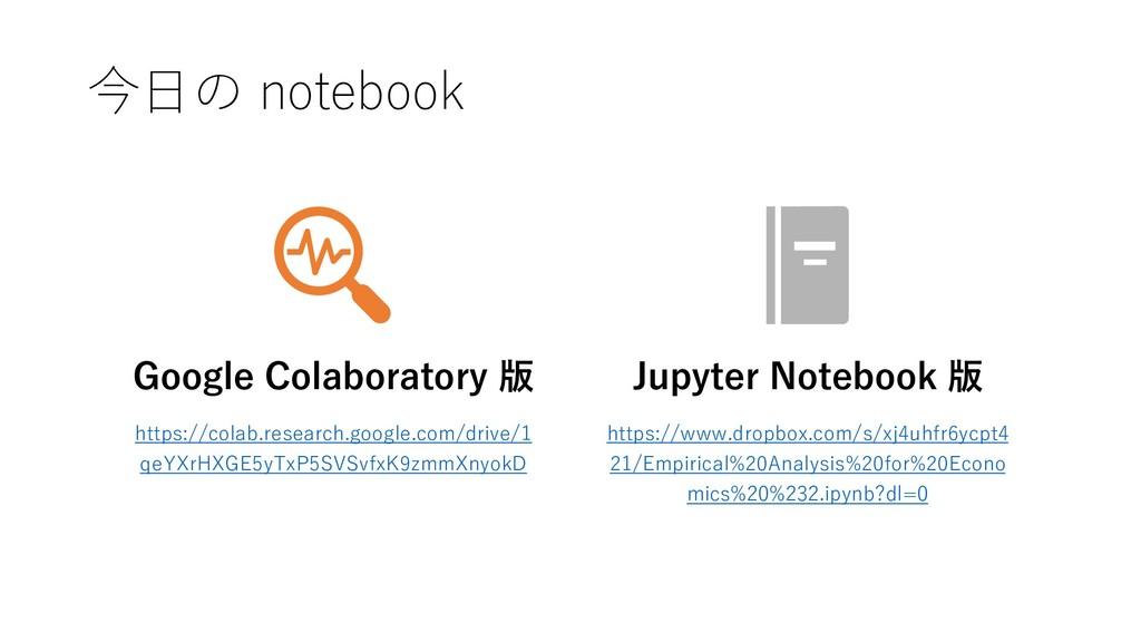 今日の notebook Google Colaboratory 版 https://cola...
