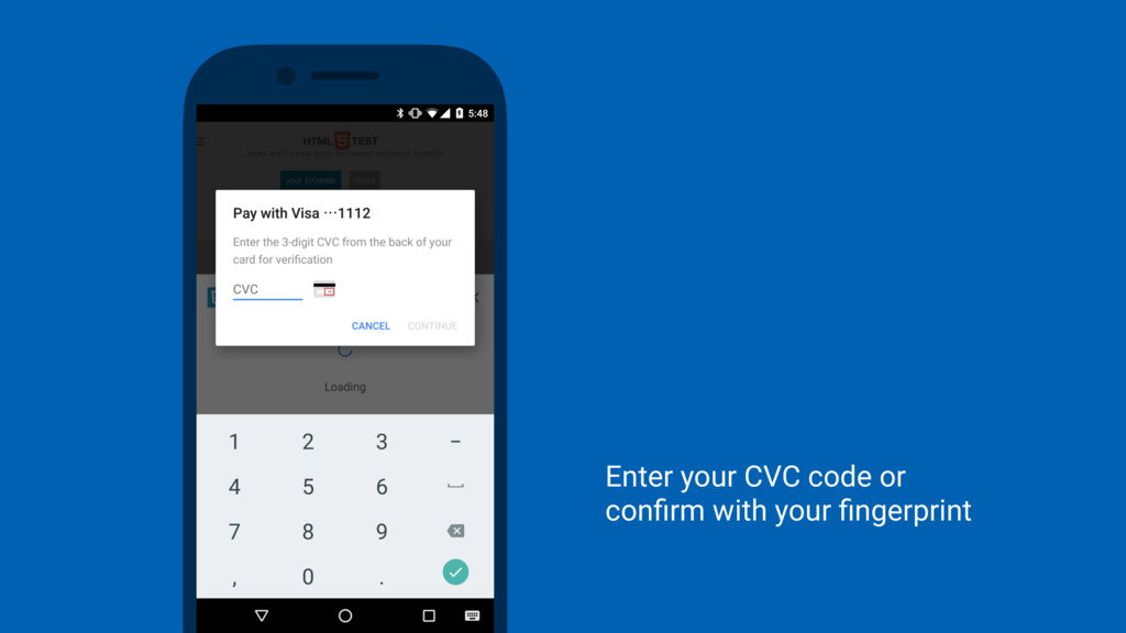Enter your CVC code or confirm with your fingerpr...