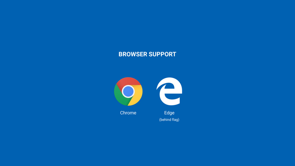 BROWSER SUPPORT Chrome Edge (behind flag)