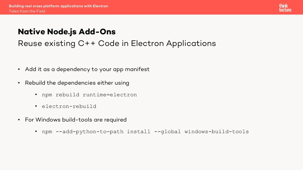 Reuse existing C++ Code in Electron Application...