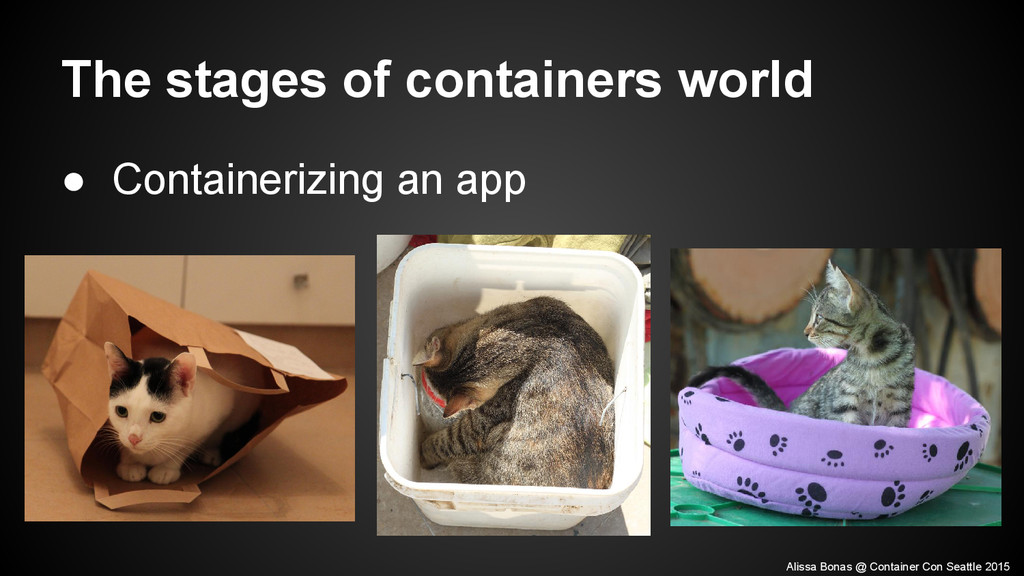 ● Containerizing an app The stages of container...