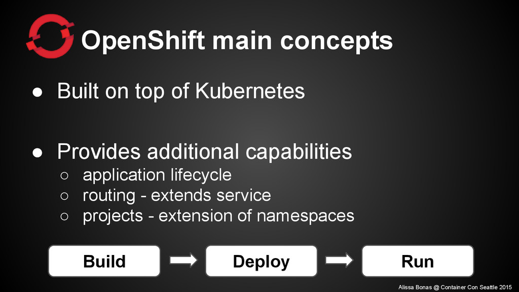 OpenShift main concepts ● Built on top of Kuber...