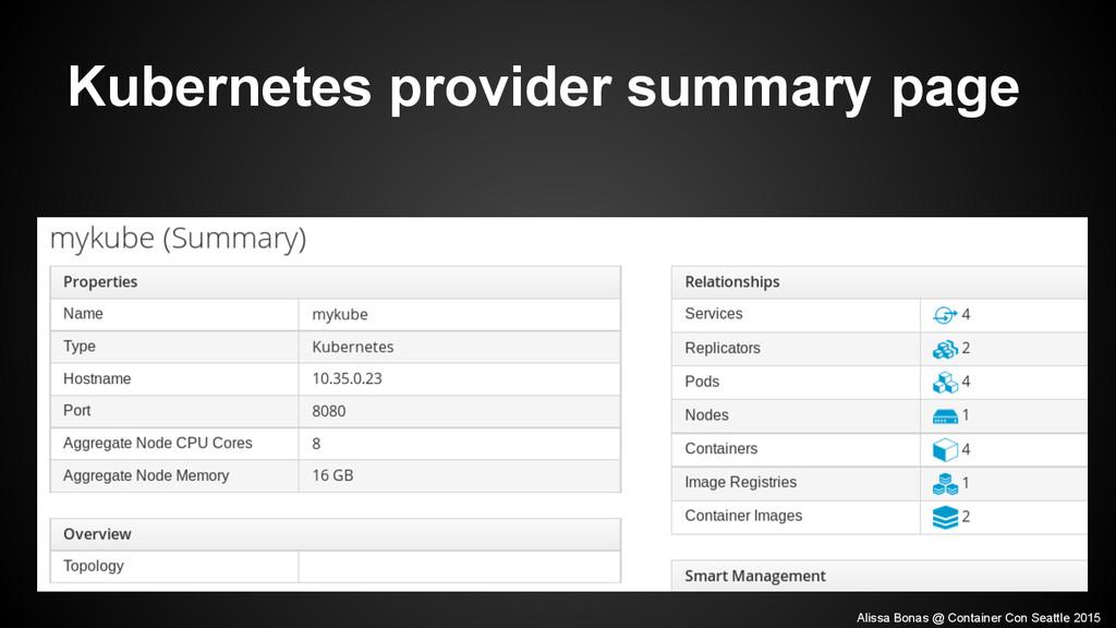 Kubernetes provider summary page Alissa Bonas @...