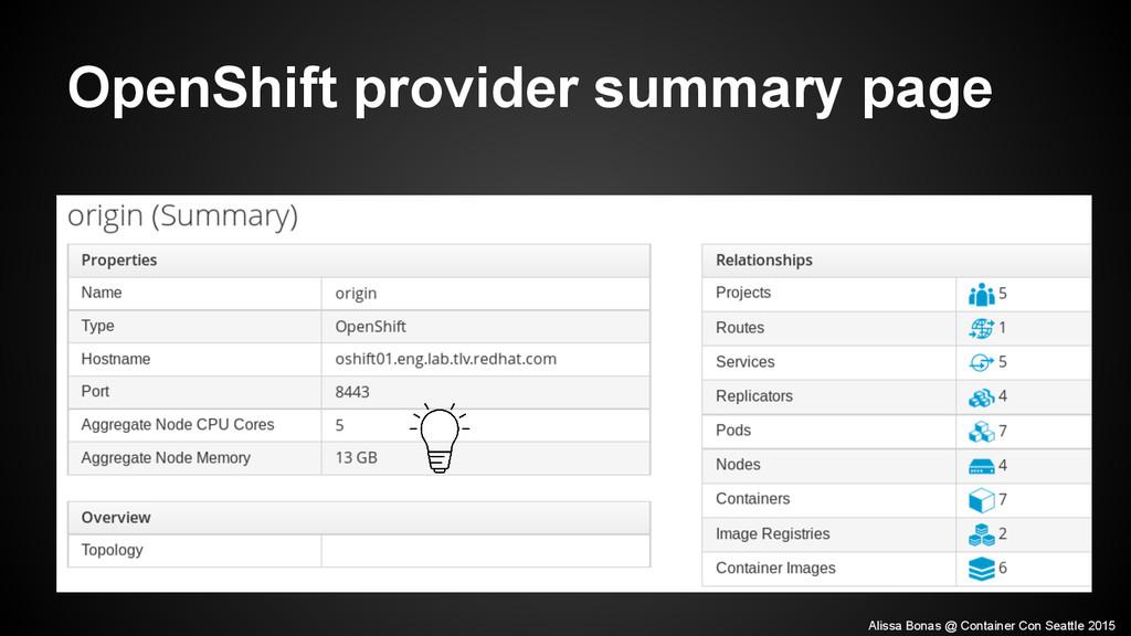 OpenShift provider summary page Alissa Bonas @ ...