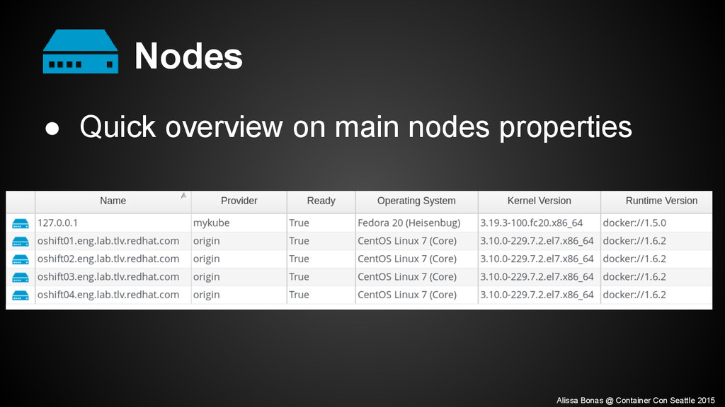 Nodes ● Quick overview on main nodes properties...