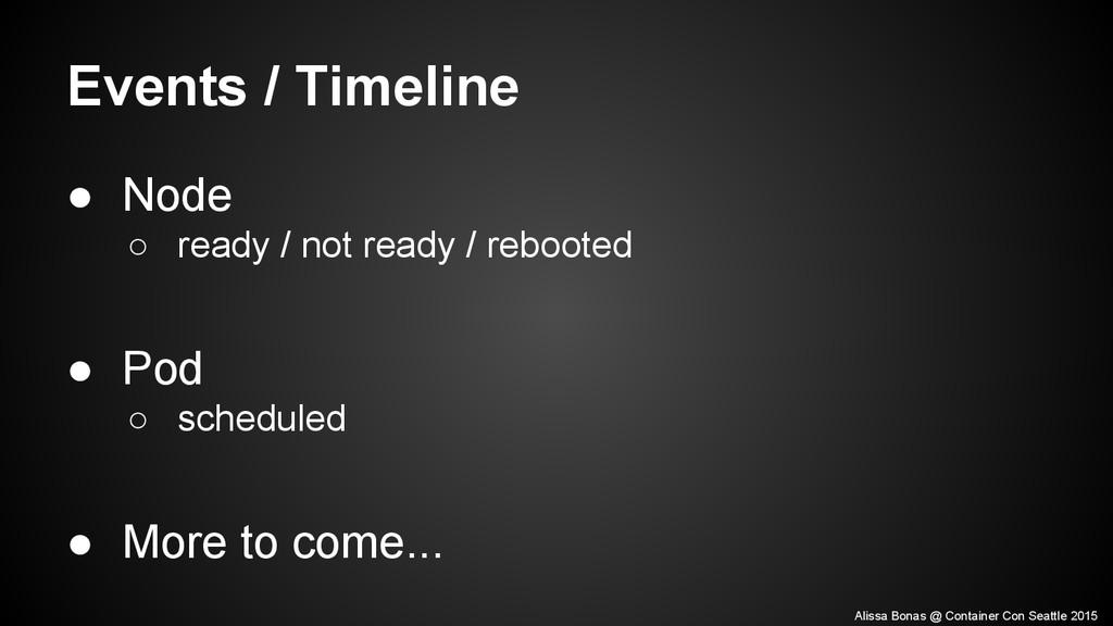 Events / Timeline ● Node ○ ready / not ready / ...
