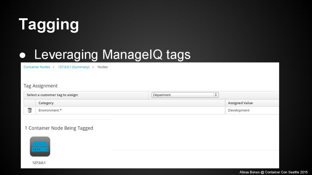 Tagging ● Leveraging ManageIQ tags Alissa Bonas...