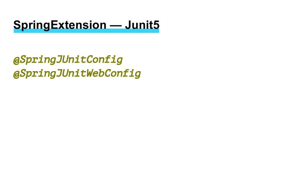 SpringExtension — Junit5 @SpringJUnitConfig @Sp...