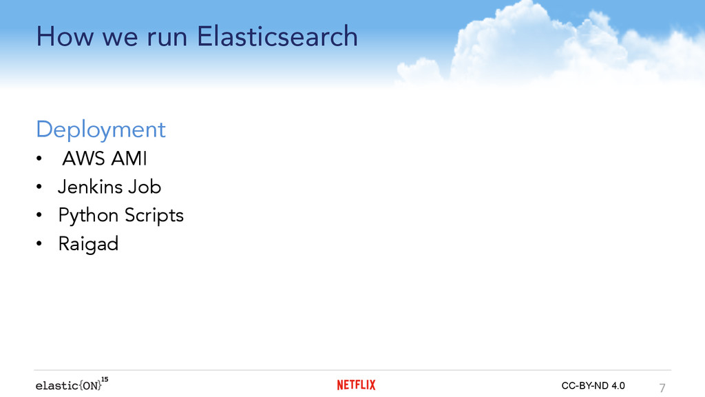 { } CC-BY-ND 4.0 How we run Elasticsearch Deplo...