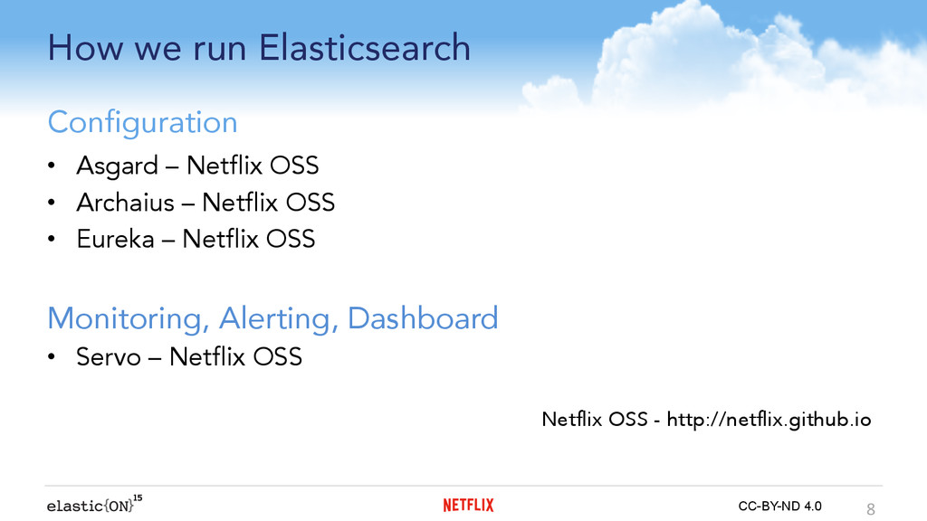 { } CC-BY-ND 4.0 How we run Elasticsearch •  As...