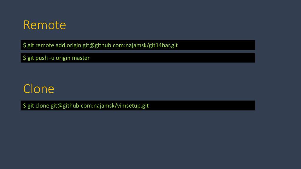 Remote $ git remote add origin git@github.com:n...