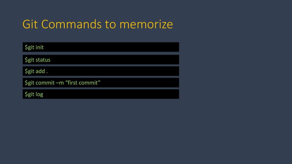 Git Commands to memorize $git init $git status ...