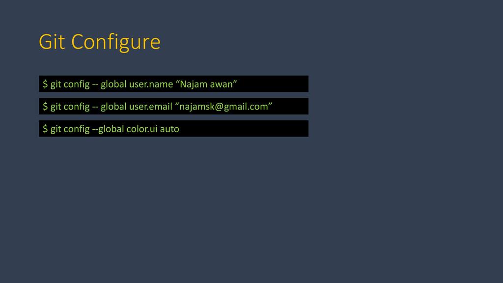Git Configure $ git config -- global user.name ...