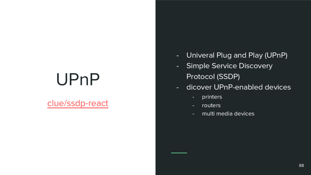 UPnP clue/ssdp-react - Univeral Plug and Play (...
