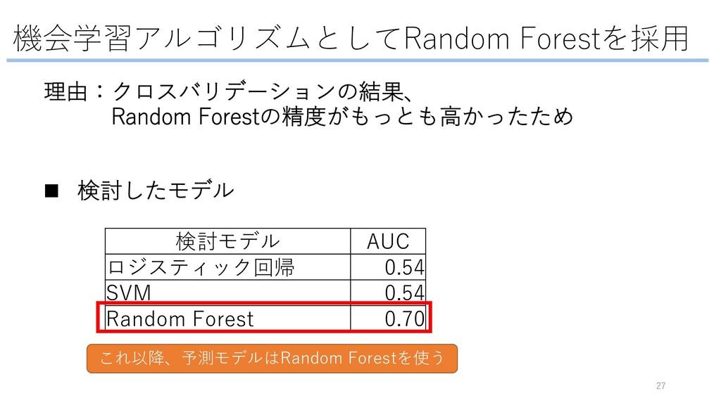 機会学習アルゴリズムとしてRandom Forestを採⽤ 27 検討モデル AUC ロジステ...