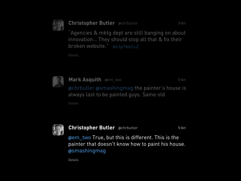 "Christopher Butler @chrbutler ""Agencies & mktg ..."