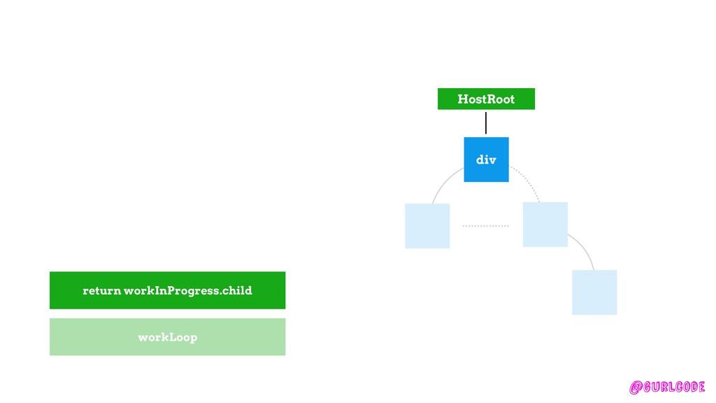 @gurlcode HostRoot div workLoop return workInPr...