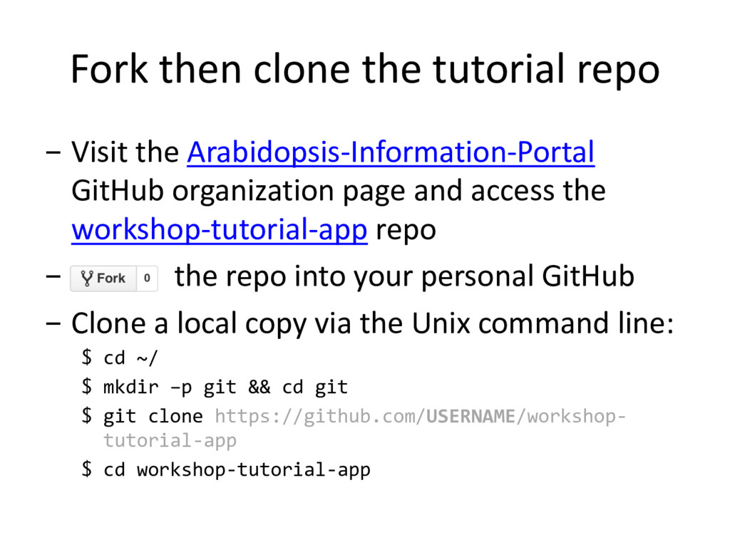 Fork then clone the tutorial repo - Visit the A...