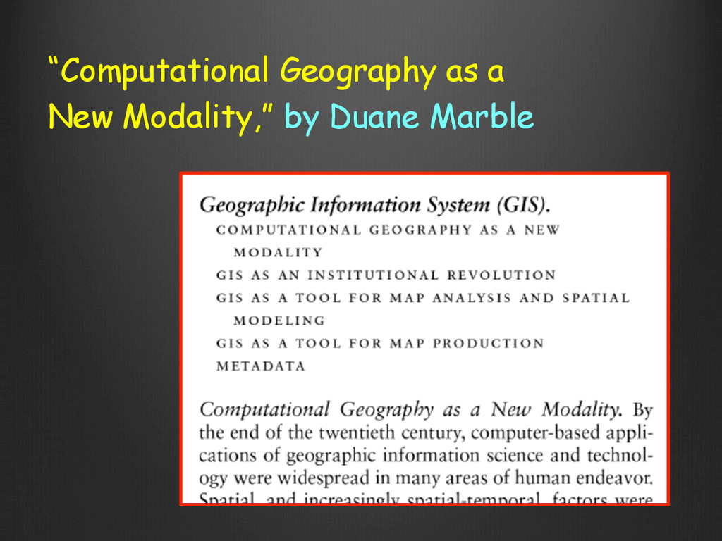 """""""Computational Geography as a New Modality,"""" by..."""