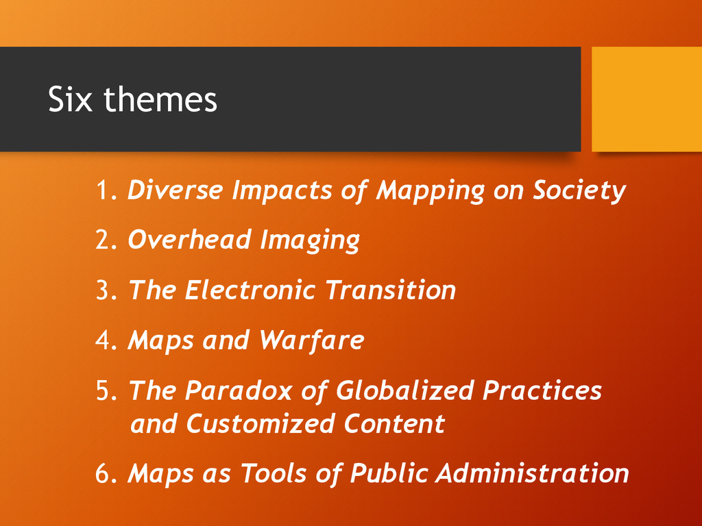 Six themes 1. Diverse Impacts of Mapping on Soc...