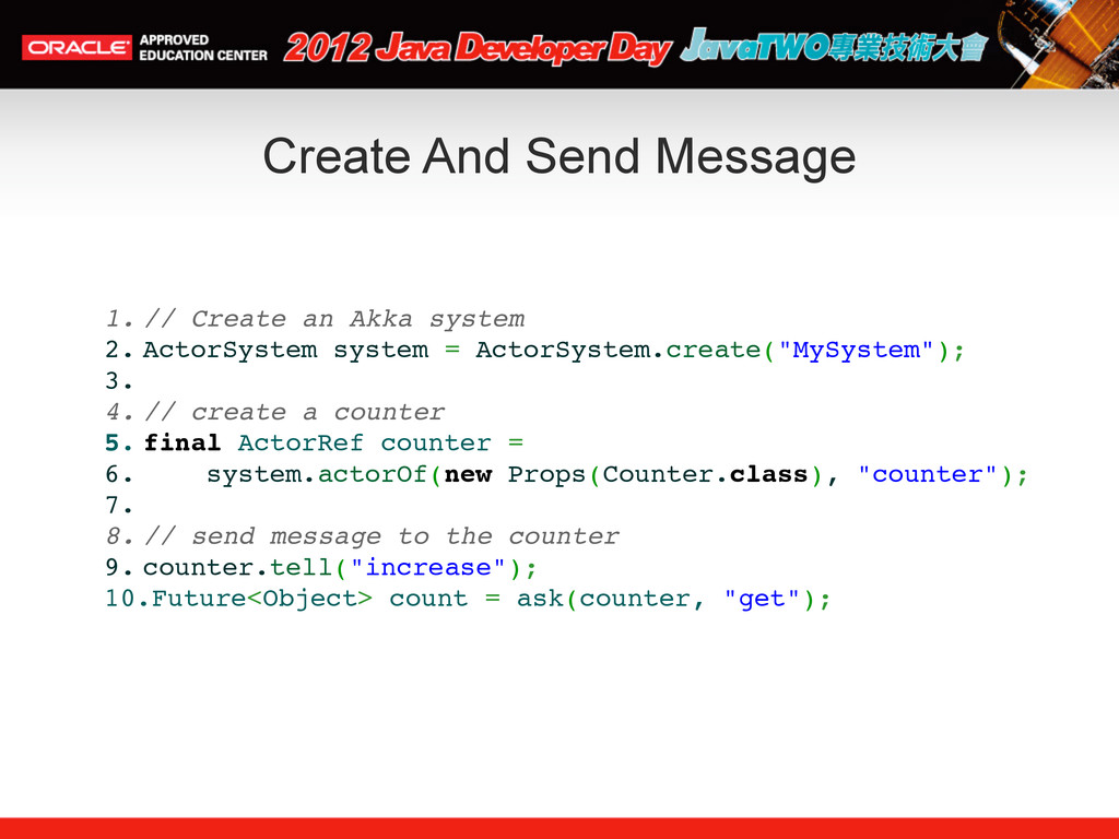 Create And Send Message 1. // Create an Akka sy...