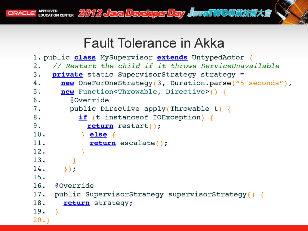 Fault Tolerance in Akka 1. public class MySuper...