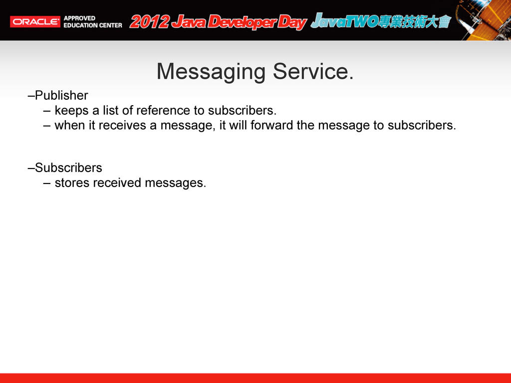 Messaging Service. –Publisher – keeps a list of...