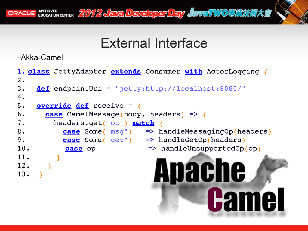 External Interface –Akka-Camel 1. class JettyAd...