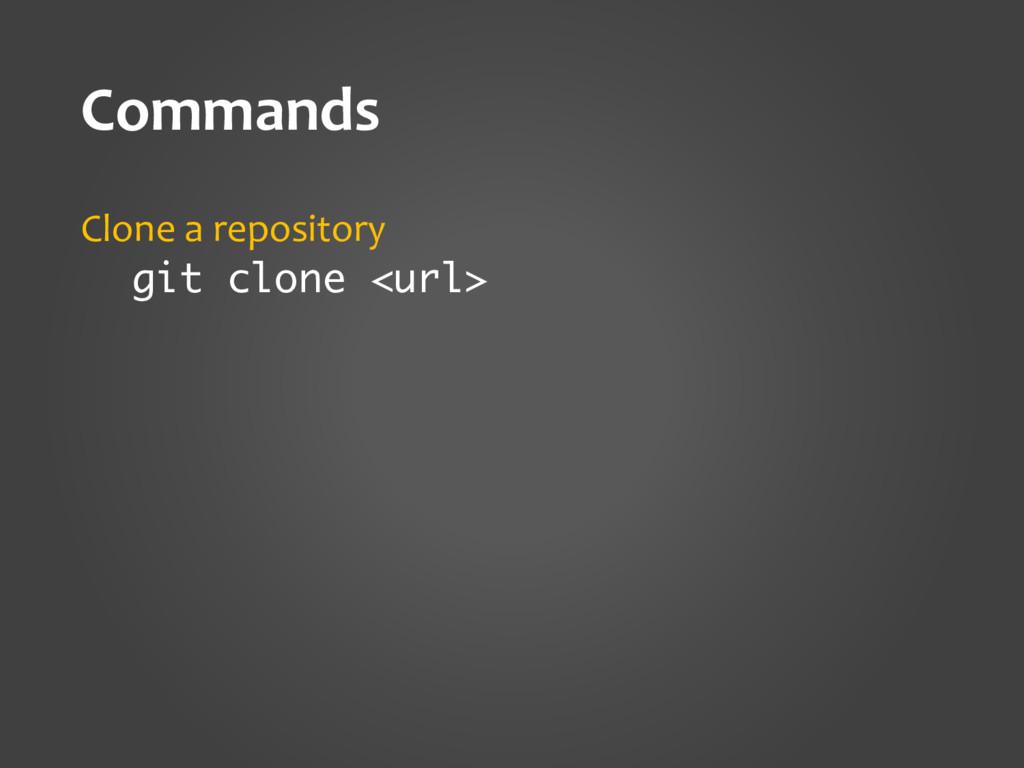 Commands Clone a repository git clone <url>