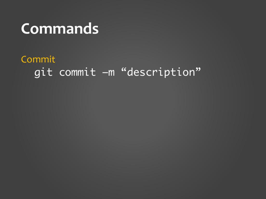 """Commands Commit git commit –m """"description"""""""