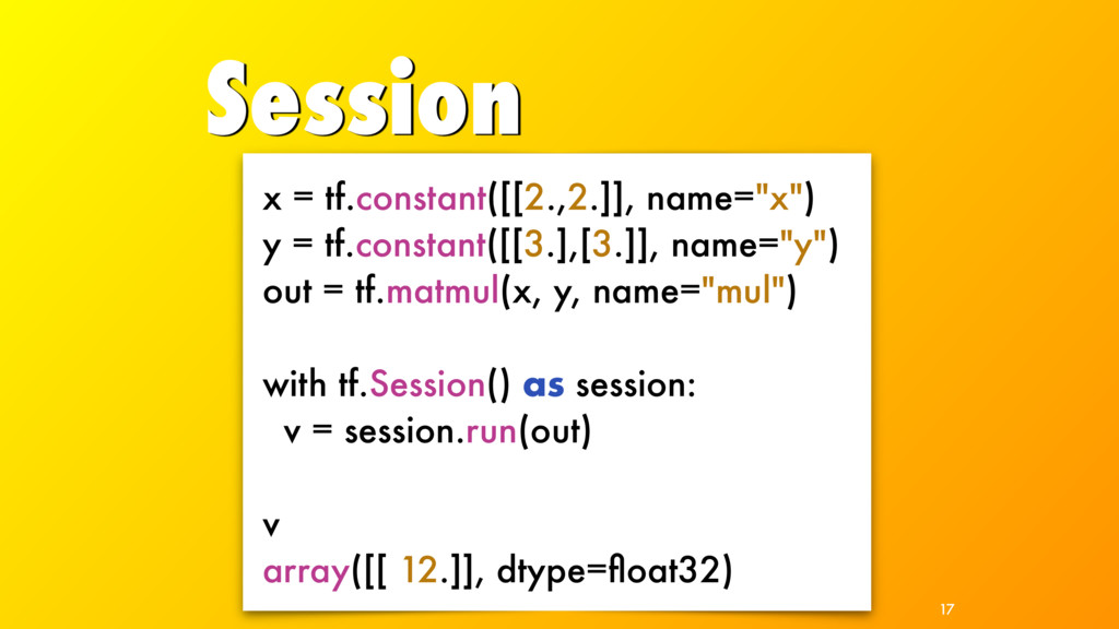 """Session 17 x = tf.constant([[2.,2.]], name=""""x"""")..."""