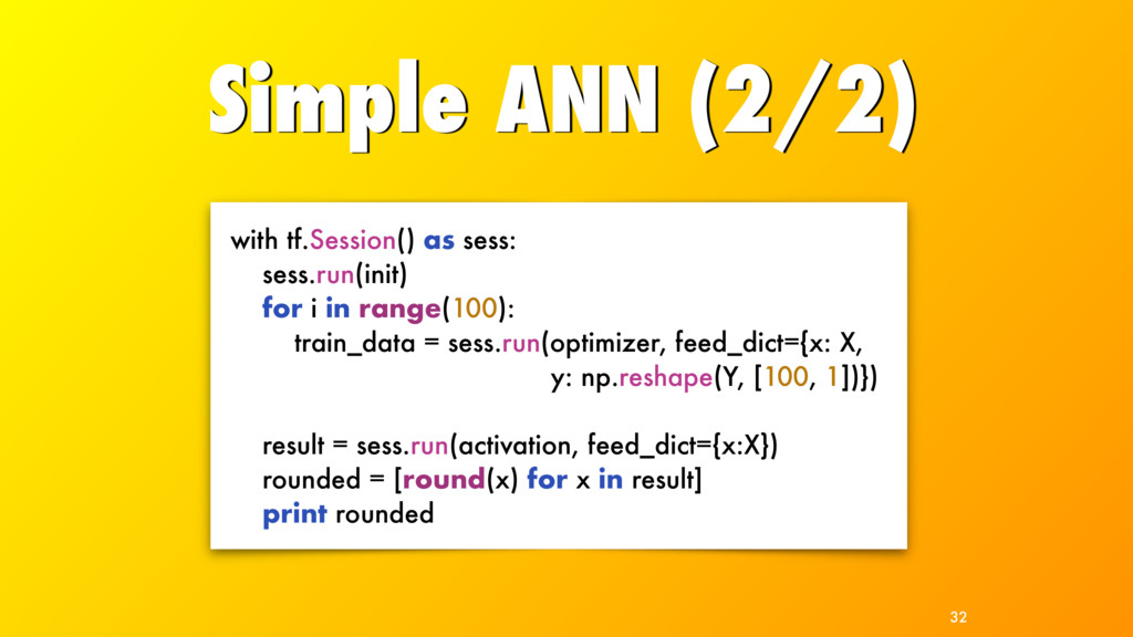 Simple ANN (2/2) 32 with tf.Session() as sess: ...
