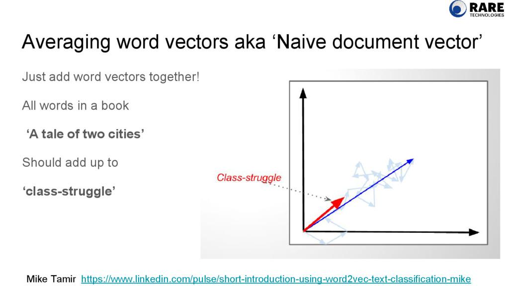 Averaging word vectors aka 'Naive document vect...