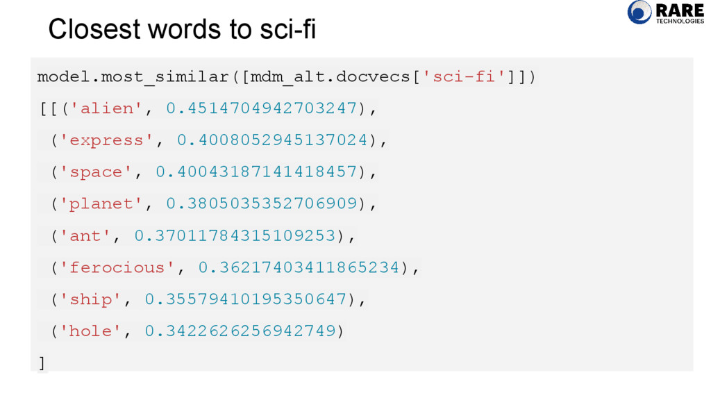 Closest words to sci-fi model.most_similar([mdm...