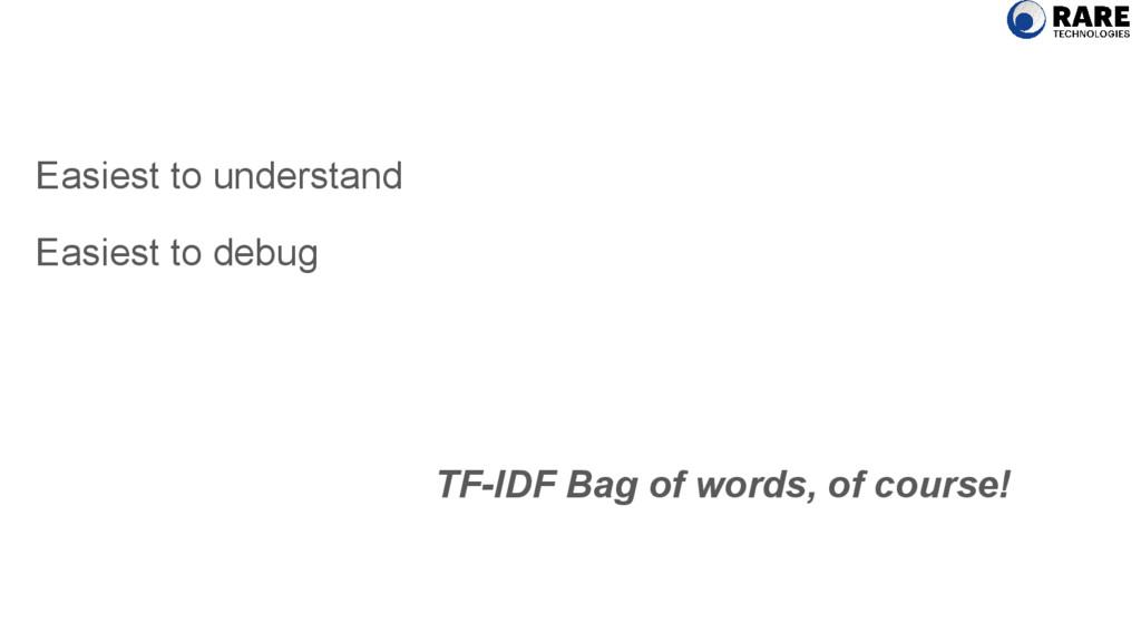 Easiest to understand Easiest to debug TF-IDF B...