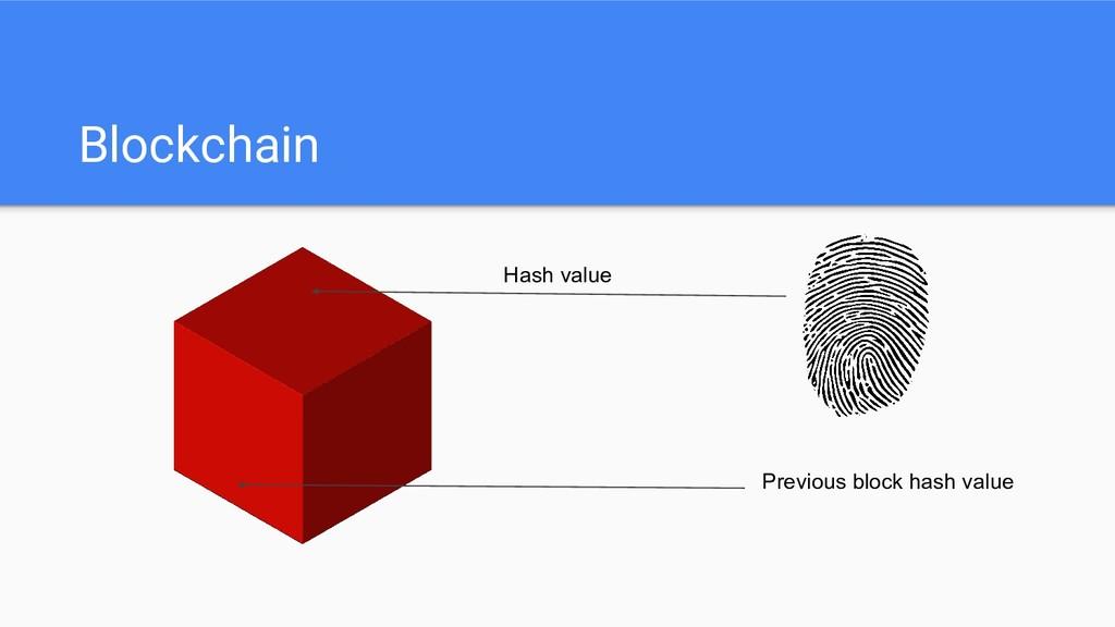Blockchain Hash value Previous block hash value
