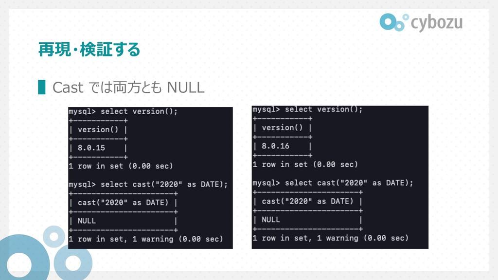 再現・検証する ▌Cast では両⽅とも NULL