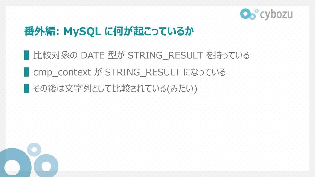 番外編: MySQL に何が起こっているか ▌⽐較対象の DATE 型が STRING_RES...